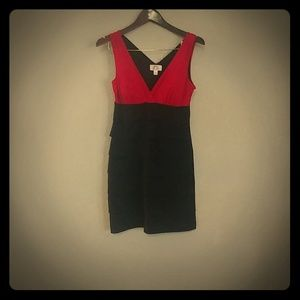 Fitted red and black dress